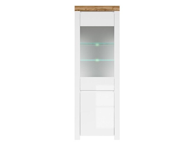 HOLSTEN glass cabinet 1 door in white / oak / white gloss