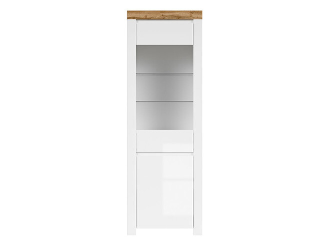 HOLSTEN glass cabinet with 1 door in white / oak / white gloss
