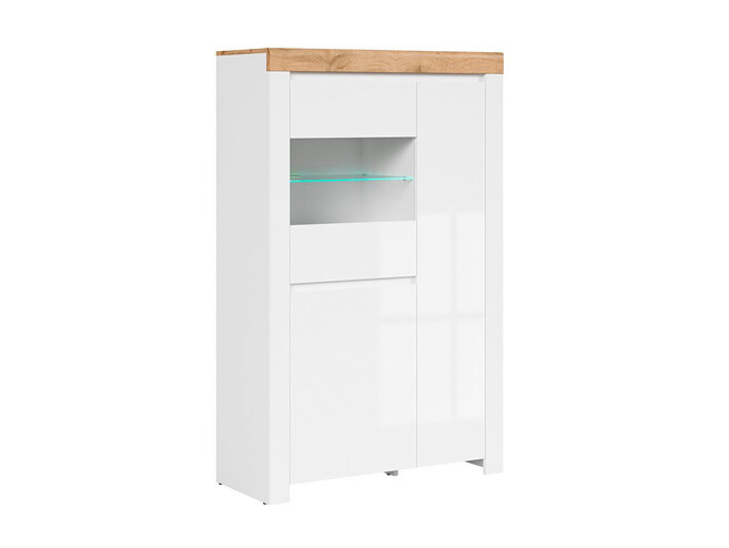 HOLSTEN glass cabinet with 2 doors in white / oak / white gloss