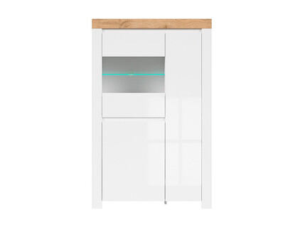 HOLSTEN glass cabinet 2 doors in white / oak / white gloss