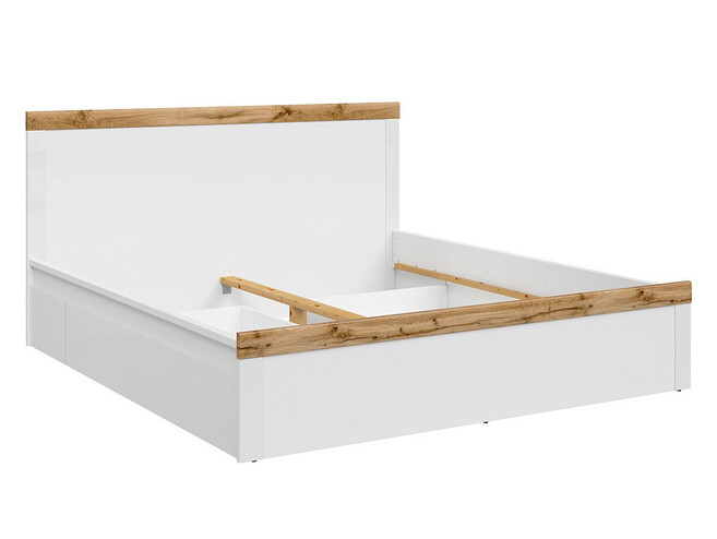 HOLSTEN bed double bed 180x200cm in white / white gloss / oak wotan