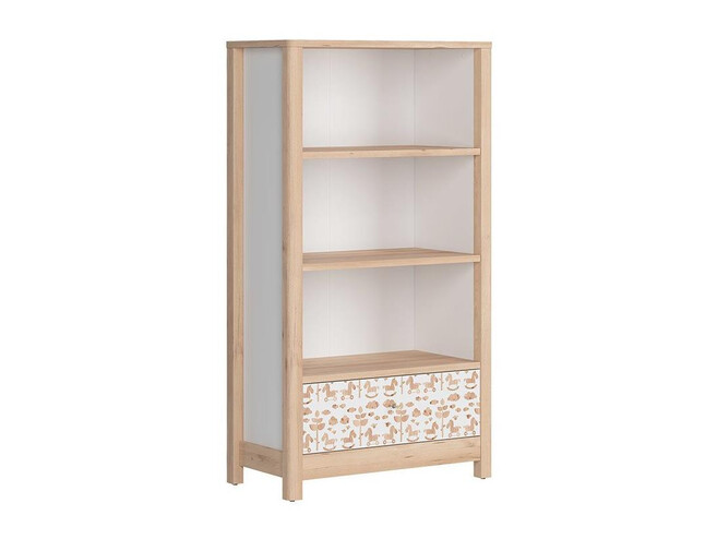 TIMOH low cabinet shelf with 3 compartments, a drawer in beech/white/pony decor