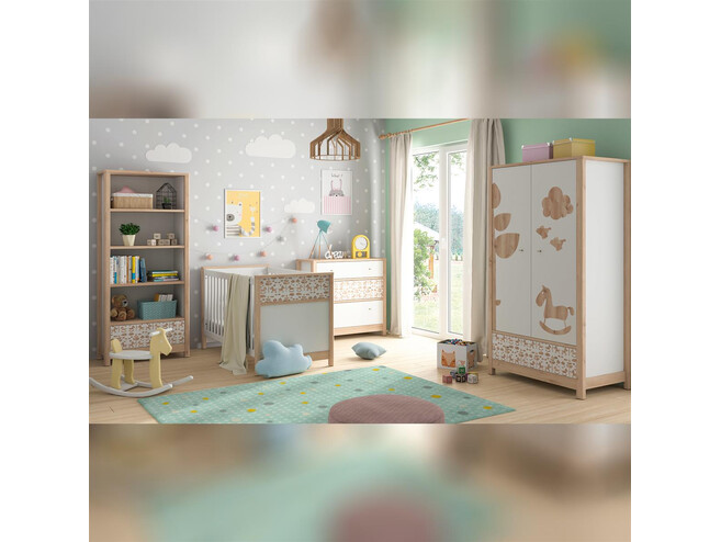 TIMOH baby room set 4 pcs. in white / beech / pony decor / appl.
