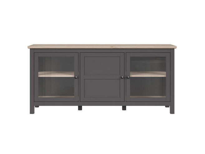 BOCAGE showcase chest of drawers 3 doors in graphite / oak San Remo