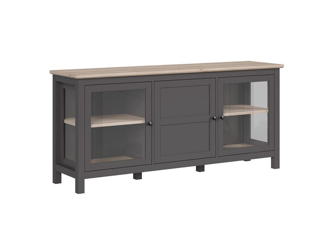 BOCAGE showcase sideboard 3 doors in graphite / oak San Remo