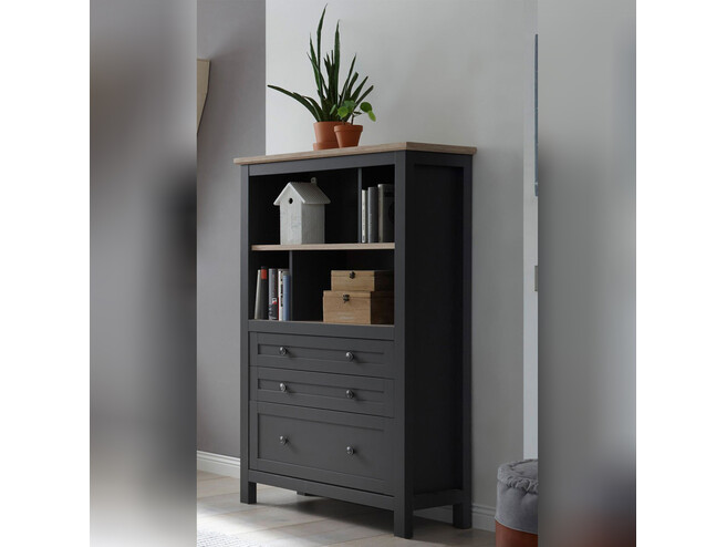 BOCAGE bookshelf shelf cabinet with 3 drawers in graphite / oak San Remo
