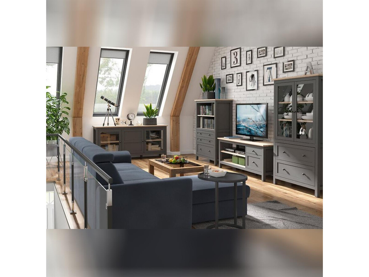 BOCAGE Scandi style living room set, 20 pieces in graphite / oak San Remo