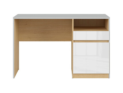 NANDI desk office table in light gray / oak / gloss white