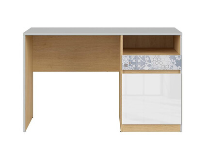 NANDI desk office table in light gray / oak / gloss...