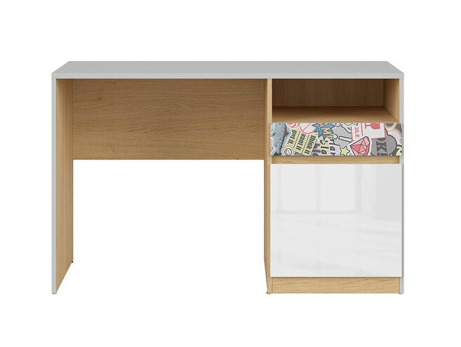 NANDI desk office table in light gray / oak / gloss white/ sticker
