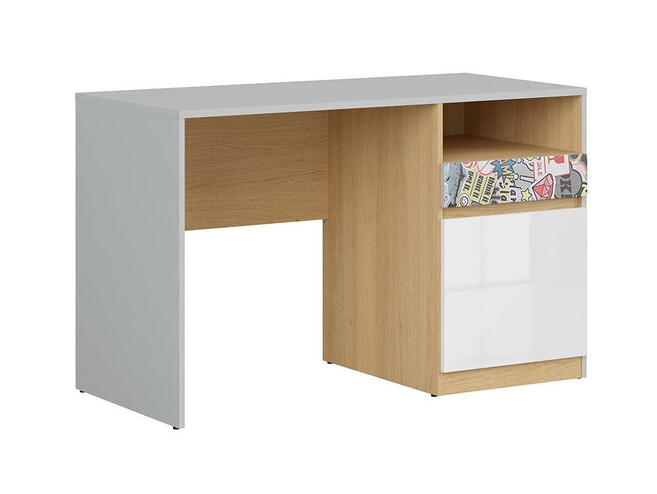 NANDI desk office table in light gray / oak / gloss white / sticker
