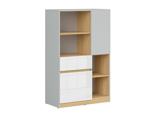 NANDI shelf dresser in light gray / oak / gloss white