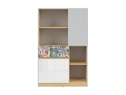 NANDI shelf dresser in light gray / oak / gloss white /...