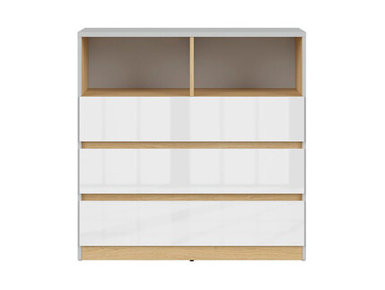 NANDI dresser in light gray / oak / gloss white