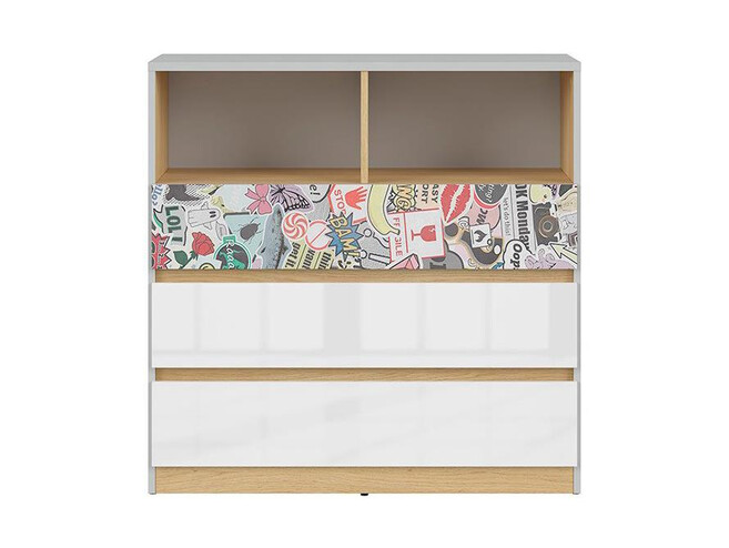 NANDI dresser chest of 3 drawersin light gray / oak / gloss white/ comic