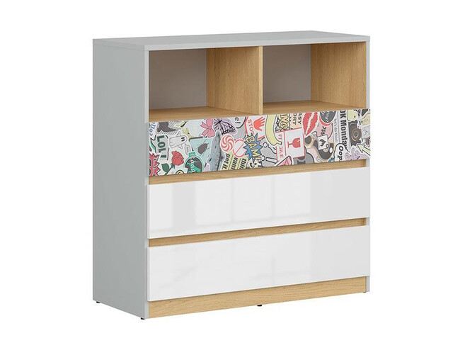 NANDI dresser chest of 3 drawers in light gray / oak / gloss white /sticker
