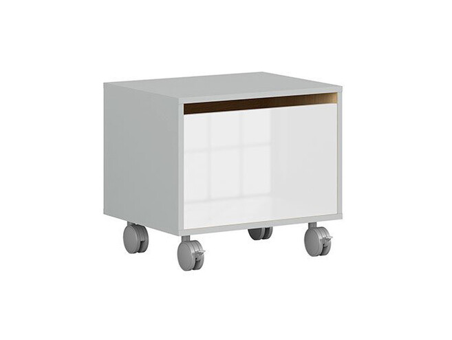 NANDI roll container in light gray / oak / white high gloss