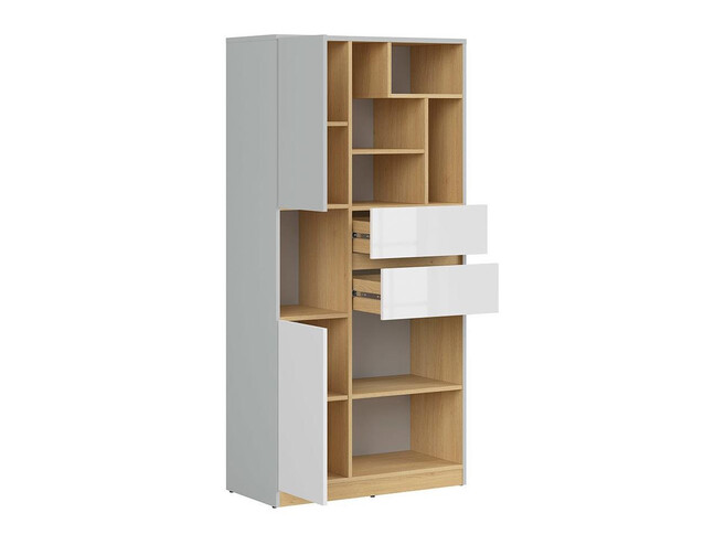 NANDI cabinet shelf 79.5cm wide in light gray / oak / gloss white