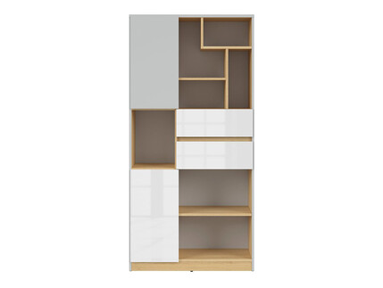 NANDI book shelf 79,5cm in light gray / oak / gloss white