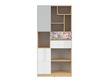 NANDI book shelf 79,5cm in light gray / oak / gloss...