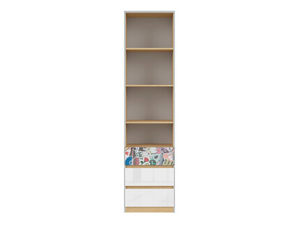 NANDI book shelf with 3 drawers in light gray / oak /...