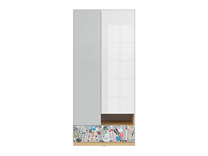 NANDI wardrobe cabinet 2 doors in light gray / oak /...