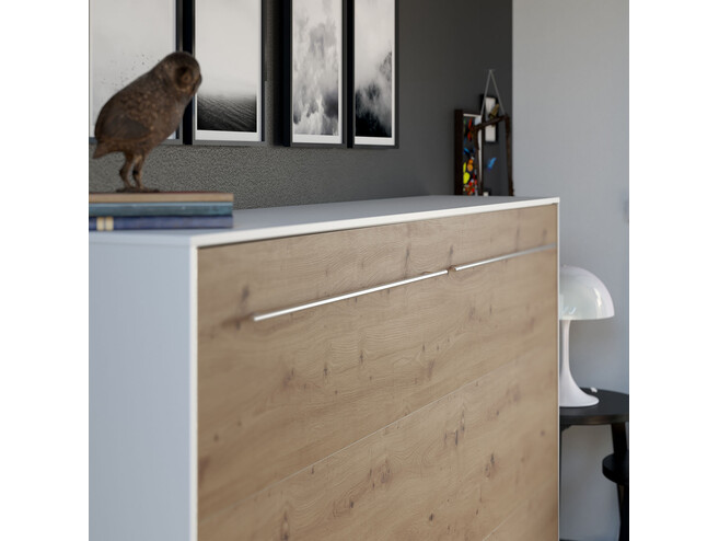 SMARTBett Folding wall bed Standard 120x200 Horizontal White/Wild Oak with Gas pressure Springs