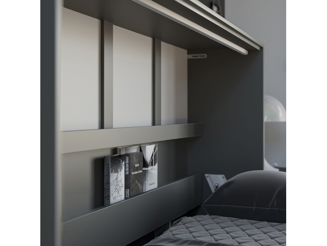 SMARTBett Folding wall bed Standard 120x200 Horizontal Anthracite/Wild Oak with Gas pressure Springs