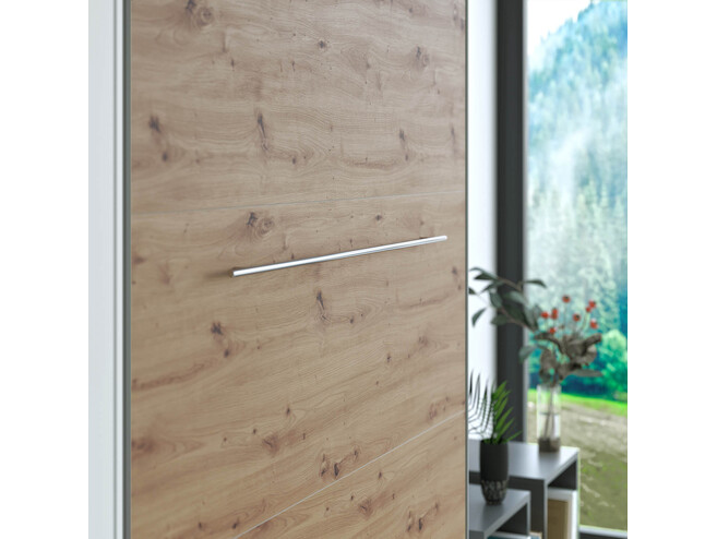 SMARTBett Folding wall bed Standard 120x200 Vertical Anthracite/Wild Oak with Gas pressure Springs