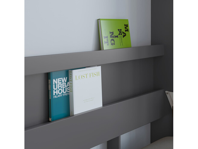 SMARTBett Folding wall bed Standard Comfort 120x200 Vertical Anthracite/Wild Oak with gas springs