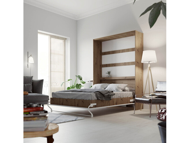 SMARTBett Folding wall bed Standard 140x200 Vertical Wild Oak /White high gloss with Gas pressure Springs