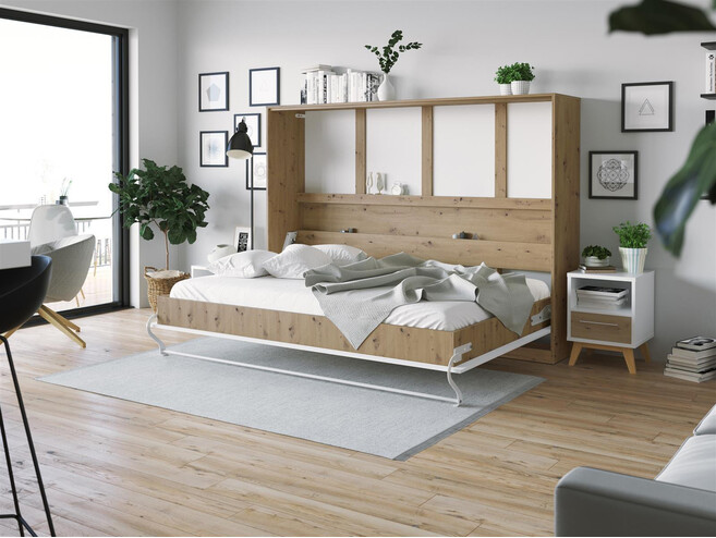 SMARTBett Folding wall bed Standard 140x200 Horizontal Wild Oak/White high gloss front with Gas pressure Springs