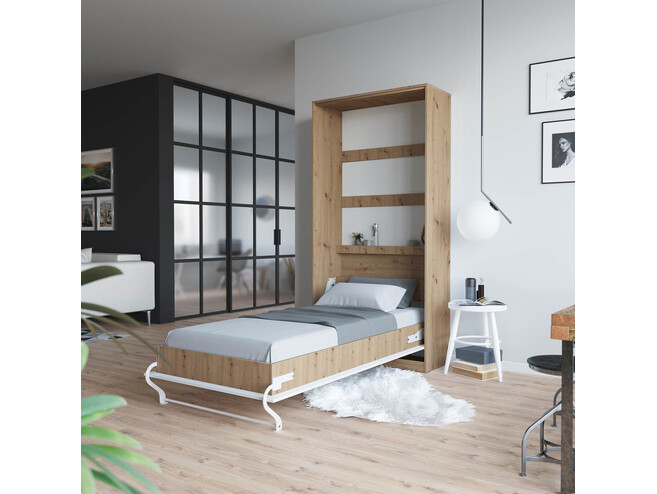 Folding wall bed SMARTBett Standard 90x200 Vertical Wild Oak/White with Gas pressure Springs