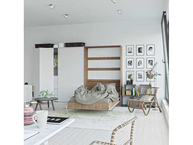 SMARTBett Folding wall bed Standard 120x200 Vertical Wild Oak /Anthracite high gloss front with Gas pressure Springs