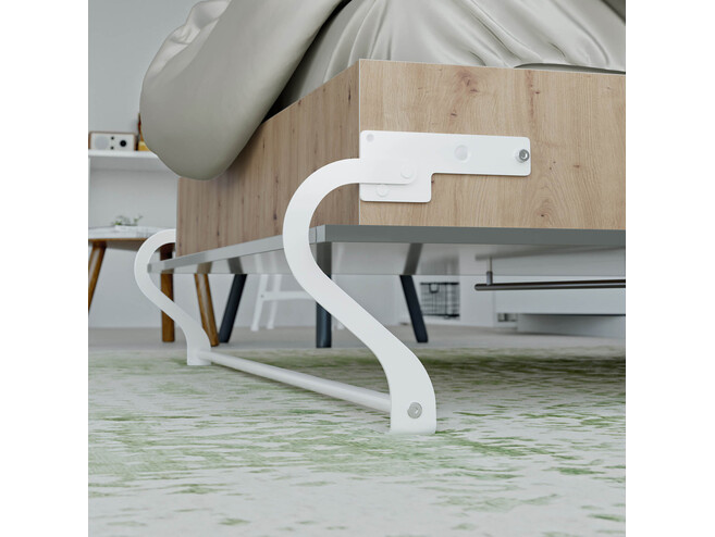 SMARTBett Folding wall bed Standard Comfort 120x200 Vertical Wild Oak /Anthracite high gloss front with gas springs