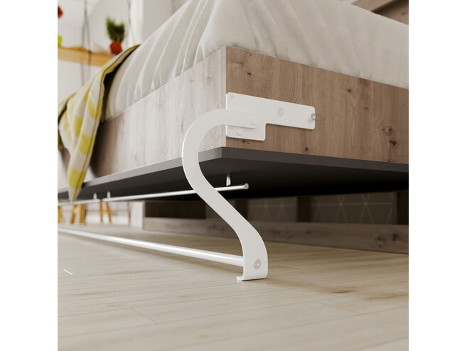 SMARTBett Folding wall bed Standard 90x200 Horizontal Wild Oak/Anthracite with Gas pressure Springs