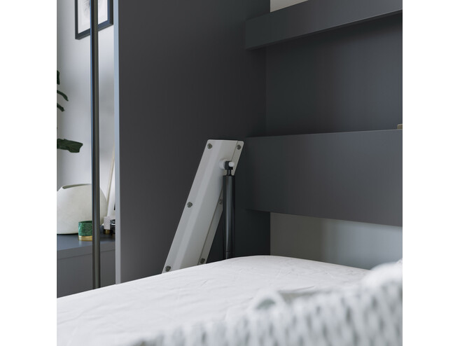 SMARTBett Folding wall bed Standard Comfort 140x200 Horizontal Anthracite/Wild Oak with gas springs
