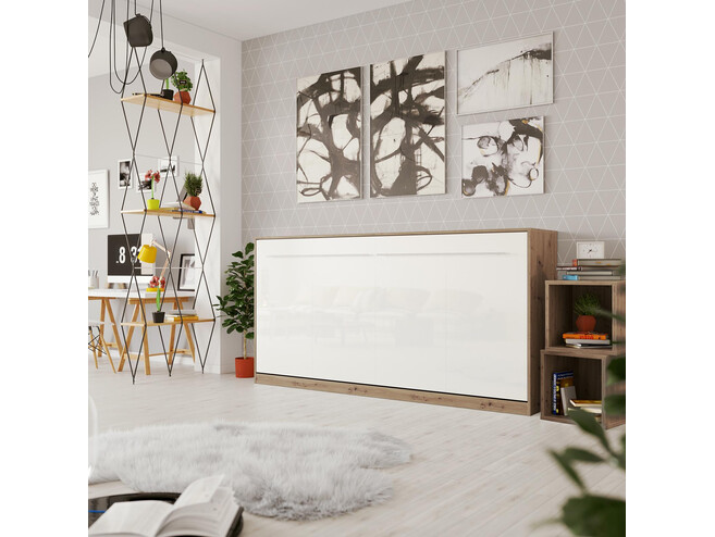 SMARTBett Folding wall bed Standard Comfort 90x200 Horizontal Wild Oak/White high gloss front with gas springs