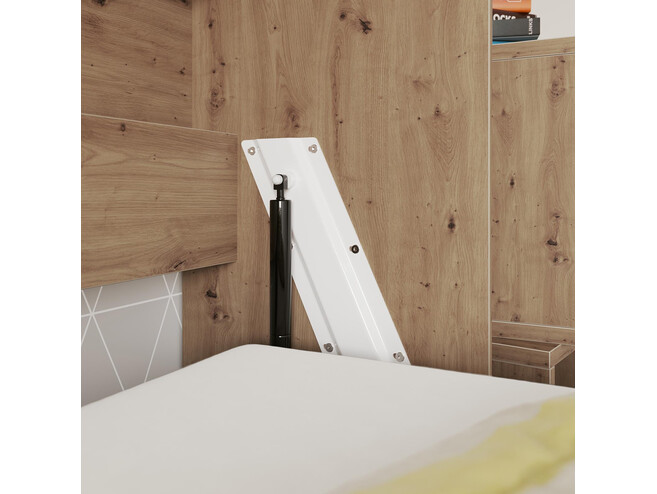 SMARTBett Folding wall bed Standard Comfort 90x200 Horizontal Wild Oak/Anthracite high gloss front with gas springs
