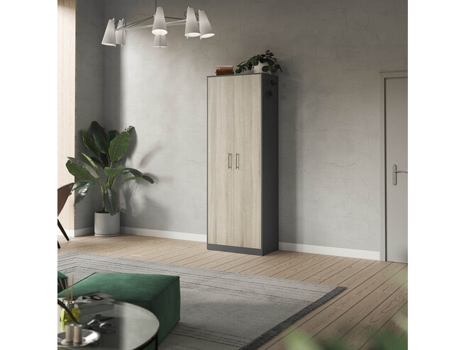 SMARTBett cabinet 80cm 2 doors in anthracite/ oak Sonoma