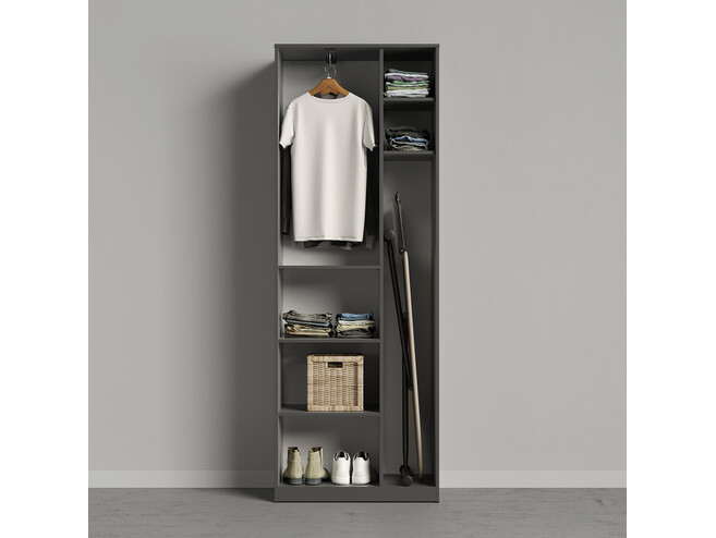 SMARTBETT cabinet wardrobe 80 cm with 2 doors anthracite / oak Sonoma
