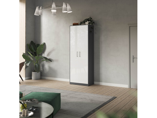 SMARTBett cabinet 80cm 2 doors in anthracite/ white high glossy