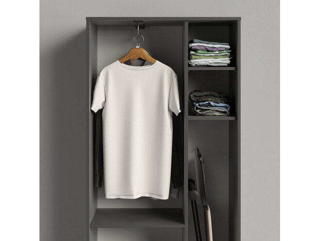 SMARTBETT cabinet wardrobe 80cm 2 doors anthracite / white high gloss