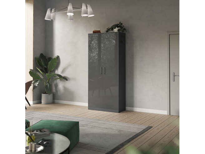 SMARTBett cabinet 80cm 2 doors in anthracite/ anthracitze high glossy