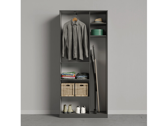 SMARTBETT cabinet wardrobe 100 cm 2 doors anthracite / anthracite high gloss