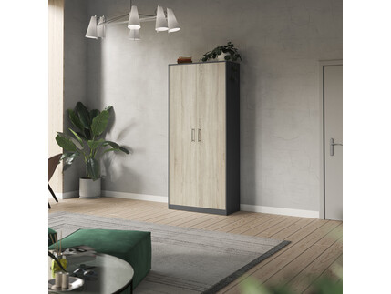 SMARTBett cabinet 100cm 2 doors in anthracite/ oak Sonoma