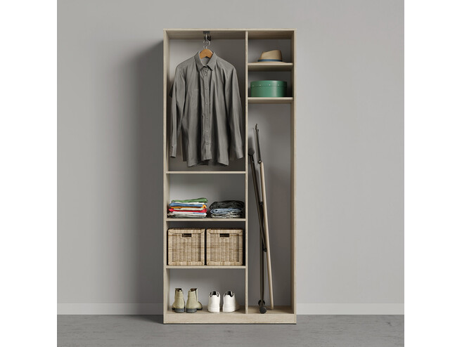 SMARTBETT wardrobe 100cm 2-door oak Sonoma / anthracite high gloss