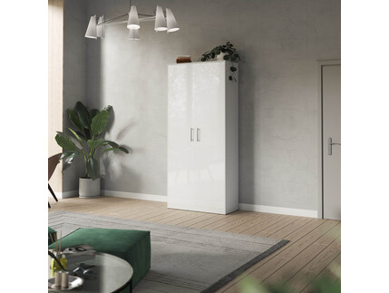 SMARTBett cabinet 100cm 2 doors in white/ white high glossy