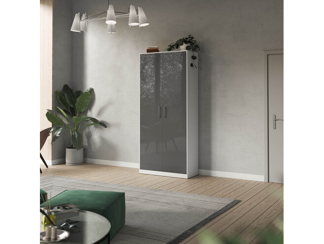 SMARTBett cabinet 100cm 2 doors in white/ anthracite high glossy