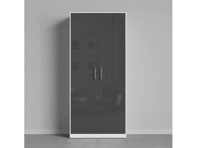 SMARTBETT wardrobe 100cm 2 doors white / anthracite  high gloss